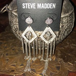 Dangly diamond and pearl encrusted silver earrings